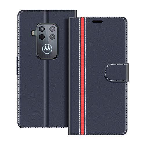 COODIO Handyhülle für Motorola One Zoom Handy Hülle, Motorola One Zoom Hülle Leder Handytasche für Motorola One Zoom Klapphülle Tasche, Dunkel Blau/Rot