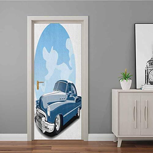 3D Türbild Nostalgie Red Hot Rod Amerikanische Kultur Retro Revival Klassiker Sammler Auto 3D Türaufkleber Aufkleber keine Rückstände oder Schäden Rot Schwarz Weiß