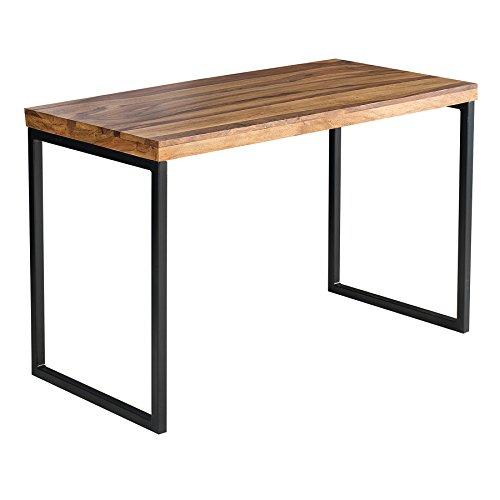 riess-ambiente.de Massiver Schreibtisch Elements 120cm Sheesham Metall schwarz Bürotisch Tisch Massivholz Holztisch