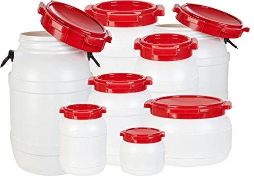 noorsk Weithalstonnen in verschiedenen Größen/Luft- und wasserdichte Transportbehälter Weiß/Rot 10.4 L