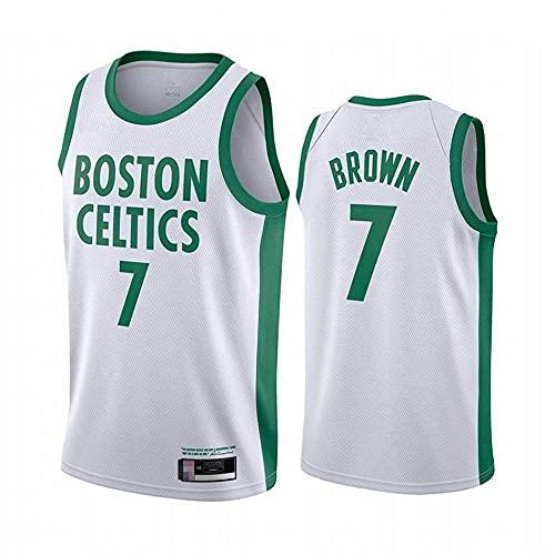 QWE Wo Nice Men's Basketball Jerseys, Boston Celtics # 7 Jaylen Brown NBA Basketball Uniformes T-Shirts Flow Camisetas y Chalecos Transpirables, Blanco, M (170~175cm) DOISLL (Color : White)