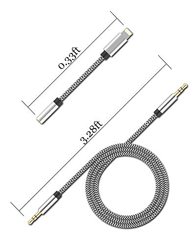 [New Version] 3-in-1 Aux Cord for iPhone, Autynie 3.5mm Aux Cable Compatible with iPhone 11/7/X/8 Plus/XS Max/XR to Car Stereo/Speaker/Headphone, Support Newest iOS 11.4/12/13.1 Version or Above