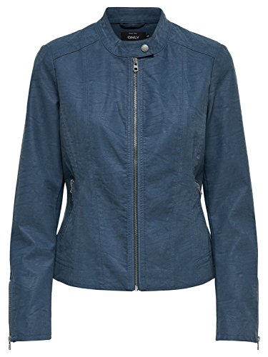 ONLY Damen Jacke Saga Faux Leather Jacket 15156494 Biker 36 Blau