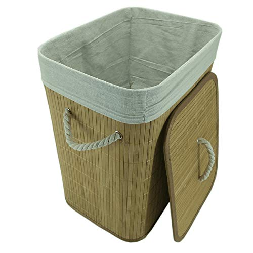 Cesto de roupa de bambu bege 50 x 40 x 30 cm - 27557