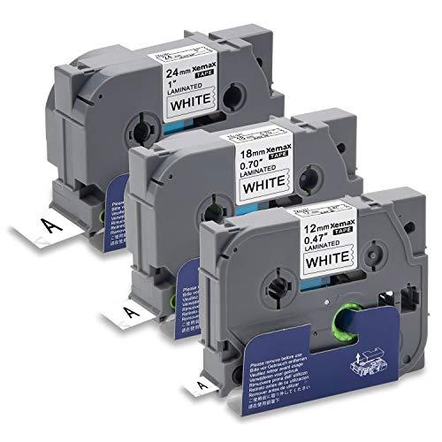 Xemax Compatibile Nastro 12mm/18mm/24mm x 8m Sostituzione per Brother P-Touch Tze-231 Tze-241 Tze-251 Nero su Bianco Laminato Cassette per PT-D600VP PT-H500 PT-2730 PT-P750W PT-E500 PT-9700PC, 3 Pacco