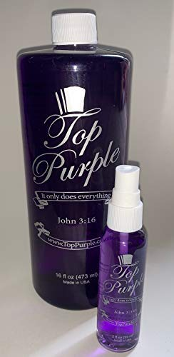 TOP Purple Jewelry and More Cleaner 32 Ounce Refill & 2 Ounce Spray Bottle