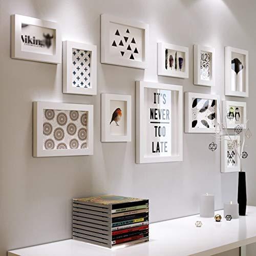 12 Conjunto de marcos de fotos múltiples Bricolaje de madera Cuadro de fotos de fotos de bricolaje Pared de pared grande moderna Marco de fotos de pared Pintura decorativa, Minimalista nórdica Decorac
