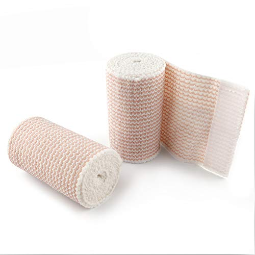 Elastic Bandage Wrap, Latex Free Medical Cotton Compression Bandage Roll with Hook and Loop Closure for First Aid, Sprains and Injuries, 3 Inch x 5 Yards Stretched, 2 Pack