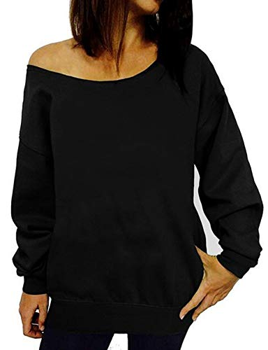 LYXIOF Womens Off Shoulder Sweatshirt Slouchy Shirts Sexy Long Sleeve Pullover Tops Black 2XL