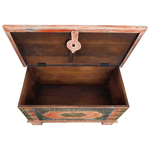Indoortrend.com Truhe Kiste Holztruhe Box 80 Vintage Rot Shabby Chic aus Handarbeit Unikat 5 - 3