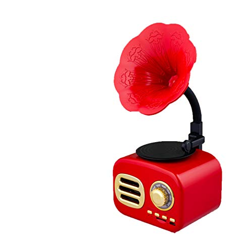 Mr. King Altavoces Bluetooth inalámbricos portátiles tamaño de la palma, con radio FM Gramófono Diseño retro, batería recargable incorporada, ranura para tarjeta TF, para oficina en casa