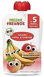 FRECHE FREUNDE Bio Beikost-Quetschie Milder Apfel & Banane, Babynahrung ab dem 5. Monat, glutenfrei & vegan, 6er Pack (6 x 100g)