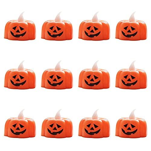 Candele a forma di zucca, 12 candele a LED senza fiamma per Halloween, a batteria, per interni ed esterni