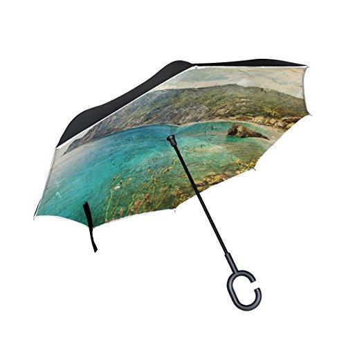 ALAZA Double-Layer-Inverted Regenschirm Autos Reverse-Regenschirm Italienische Küste Retro Kunst Vintage Malerei Winddichtes UVbeweis Reise im Freien Regenschirm