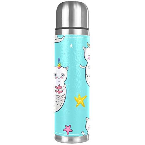 Lurnies Unicornio Gato Sirena Botellas de Agua con Aislamiento al vacío Termo a Prueba de Fugas Bebidas Calientes inoxidables para Viajes de Negocios Escolares 500ml 26x6.7cm