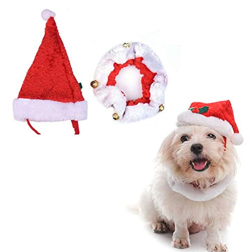 kungfu Mall Disfraces de Navidad para Mascotas Sombrero de Santa y Corbata con Campana para Mascota Kitten Dog Cat Dog Accesorio de Moda