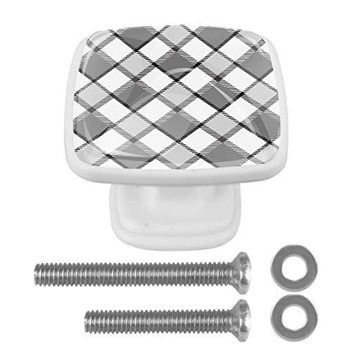4 pomos de cajón cuadrados para cajones de cocina y baño, rejilla blanca y gris