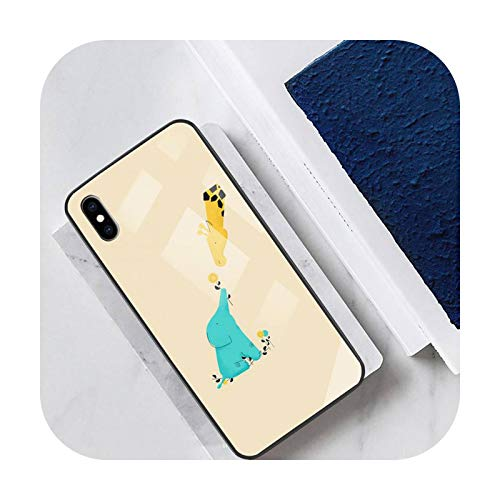 Funny Cute Giraffe Phone Case Tempered Glass For Ipohne 12 11 Pro Max 7 8 PLUS 6s XR Back Cover Case-a7-for iphone 11