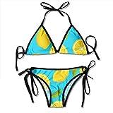 Women Citrus Seamless Pattern Hand Drawn Lemon Two Pieces Bikini Women's Summer Swimwear Triangle Top Bikinis Swimsuit