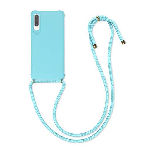 kwmobile Hülle kompatibel mit Huawei P20 Pro - mit Kordel zum Umhängen - Silikon Handy Schutzhülle Hellblau
