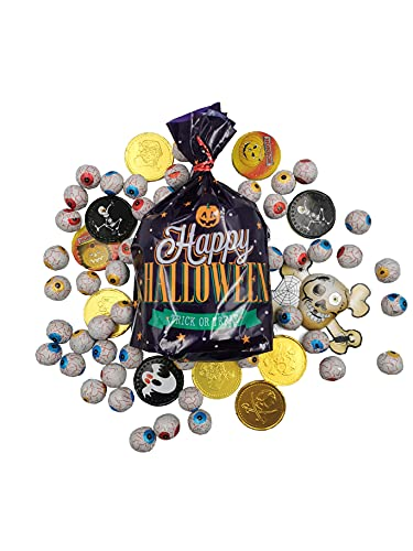 Halloween Trick or Treat Individually Foil Wrapped Milk Chocolate Mix. Solid Milk Chocolate Eyeballs, Spooky Character Coins, Pirate Gold Coins and a Foil Chocolate Skull in Halloween Themed Bag- 360g