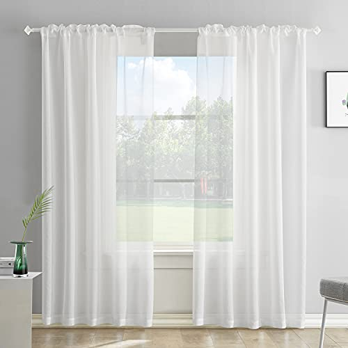 Off White Semi Sheer Curtains 84 Inches Long Faux Linen Off White Sheers Curtain for Bedroom Living Room Girls Kids Room 2 Panels 52x84