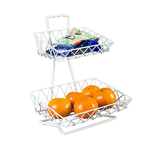 LiPengTaoShop Miska na owoce, miska na owoce, metalowy stojak na owoce, 2 poziomy, 3 poziomy, pojemnik na owoce, uchwyt na blat kuchenny (kolor: biały, wymiary: 23 x 17 x 31,5 cm)