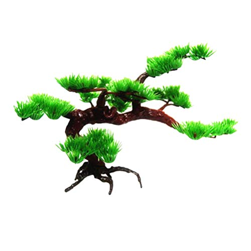 Aquarium Bonsai Tree-Aquarium Rock Bonsai Ornament Fish Tank Rockery Artificial Pine Tree Plant Aquarium Decor(Small)