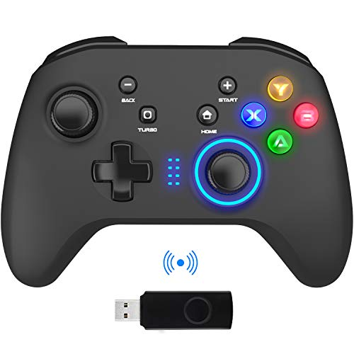 Wireless Gaming Controller, PC Video Gamepad Joystick with Dual Vibration and Remap M1-M4 Triggers, 2.4G Remote Game Console for Windows 7/8/10/XP/Laptop, PS3, Switch, Android, TV Box