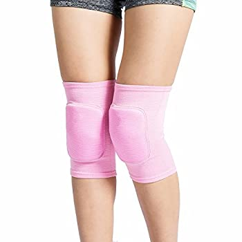 LZEEM Soft Kneepads Cotton Volleyball Tennis 1 Pair-Women Pole Dance Yoga Knee Protector Guards for Athletic Use Adult Cycling Gym Workout Exercise Skating Knee Brace Support With Sponge  Pink S