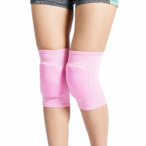 LZEEM Soft Kneepads Cotton Volleyball Tennis 1 Pair-Women Pole Dance Yoga Knee Protector Guards for Athletic Use Adult Cycling Gym Workout Exercise Skating Knee Brace Support with Sponge (Pink, S)