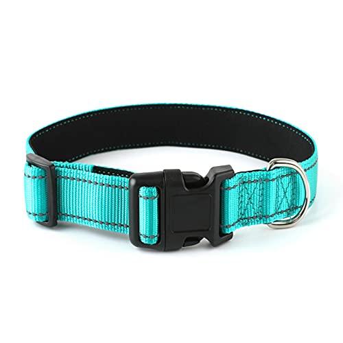 MRBJC Collar de perro de nailon reflectante con hebilla ajustable, tamaño conveniente para todas las razas verde 1,5 x 40 cm