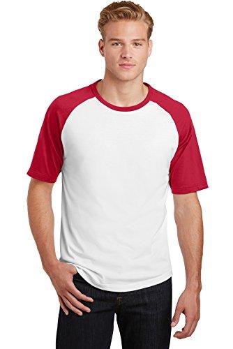 Sport-Tek® Short Sleeve Colorblock Raglan Jersey. T201 White/Red XS