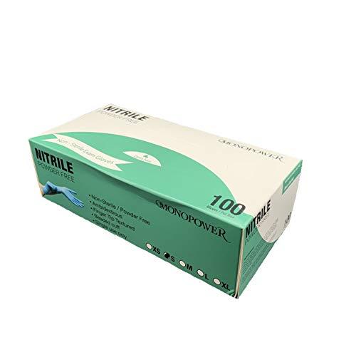 ニトリル手袋 パウダーフリー 粉なし S、M、L、XLサイズ 100枚入 ブルー 医療 食品衛生法適合 (サイズ:Mサイズ)