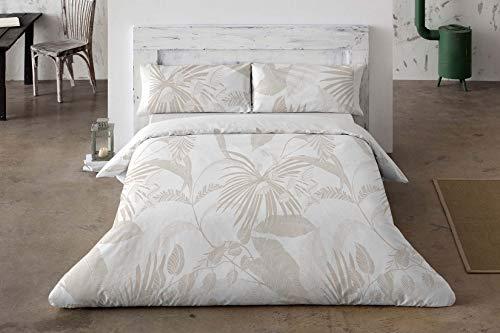 Funda Nórdica 358 con Estampado de Diseño en Blanco y Beige de Estilo Tropical para Cama Matrimonio 150 x 190 cm hasta 150 x 200 cm, Blanco y Beige