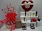 Juego de regalo de maquillaje No.7 con anillo de cristal chapado en oro en caja de regalo y bolsa de maquillaje transparente, 7 piezas