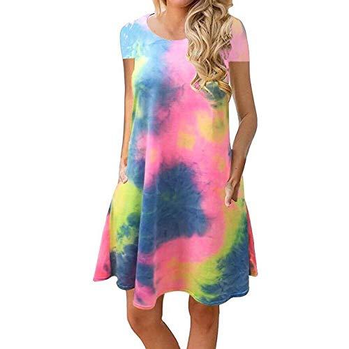 Sherosa Sundress Women Cover Up Tshirt Loose Dresses for Women Casual Summer (L,Short Sleeve Tie Dye)