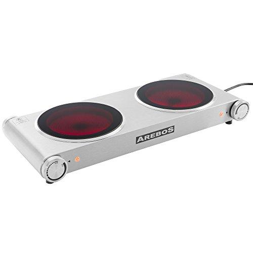 Arebos® elektrische Edelstahl-Kochplatte Ceran Kochfeld mit zwei Ceranfelder 2400 W