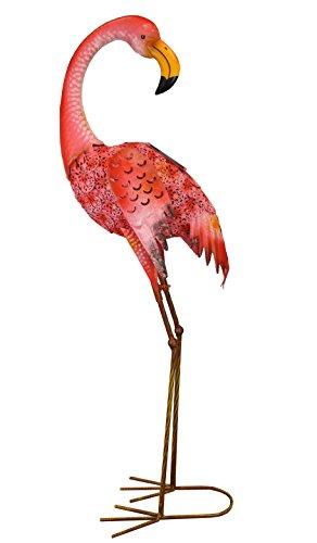 Metalen silhouet met naar achteren kijkende flamingo, decoratieve lamp, op zonne-energie.
