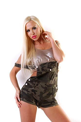 OSAB-Fashion 10469 Damen Latzhose Latz Hotpants Shorts Denim Camouflage Armystyle