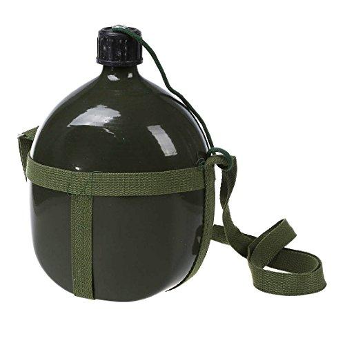 Cuasting Senderismo 2.5L Capacidad Militar Cantina Hervidor Verde con Correa para el Hombro
