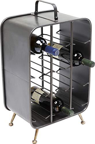 Kare Design Weinregal La Gomera 57cm, Rechteckiges Standregal für Weinflaschen, Schwarzes Weinregal aus Metall im Industrial Style, verschiedene Ausführungen erhältlich, (H/B/T) 57x34x23,5cm