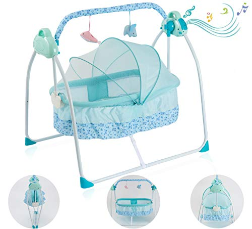 Baby Cradle Electric Bassinet for Baby Soothing Baby Bed Portable Crib with Light and Music Box Rocking Cradle -Bedside Sleeper -Foldaway Rocking Bassinet for 0-12 Month Girl Boy Infant up to 40lb