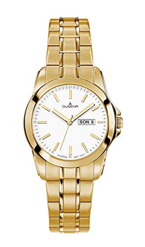 Dugena Damen-Armbanduhr Day-Date Analog Quarz Edelstahl beschichtet 4460566