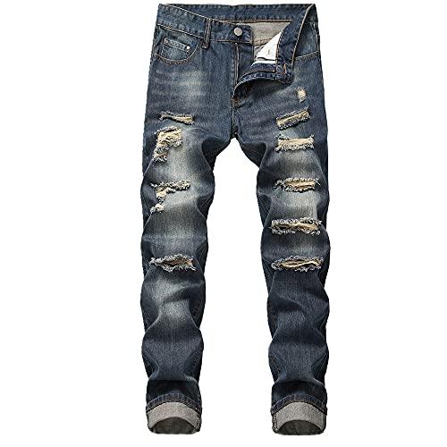 N\P Pantalones vaqueros elásticos rectos para adolescentes con varios agujeros