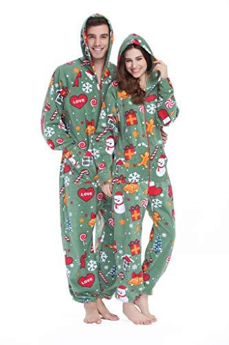 XMASCOMING Women's & Men's Hooded Fleece Onesie Pajamas Merry Xmas Size US...