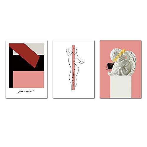 IGZAKER abstracte lijn poster print minimalistisch abstract schilderij Nordic canvas schilderij naakt vrouw foto's Wall Art Print-60x80cmx3pcs geen frame