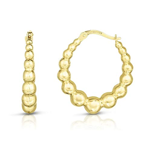 14ct Gold Yellow Finish 5x27mm Shiny Fancy Hoop Door Knocker Earrings With Hinged Clasp Jewelry Gifts for Women