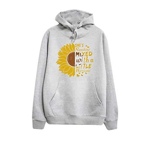 Meikosks Womens Lightweight Hooded Tops Long Sleeve Casual Sweatshirts Sunflower Hoodies Gray