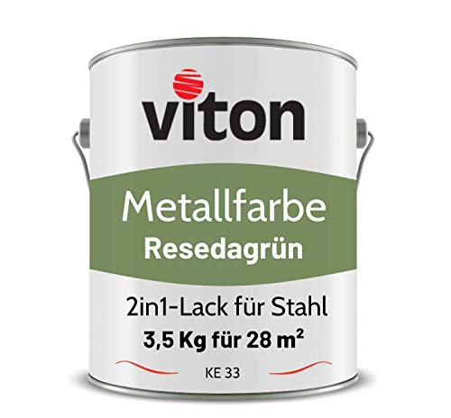 VITON Metallfarbe in Hellgrün - 3,5 Kg Metall-Schutzlack Matt - Dauerhafter Schutz & hohe Beständigkeit - 3in1 Grundierung & Deckfarbe - Metalllack direkt auf Rost - KE31 - RAL 6011 Resedagrün